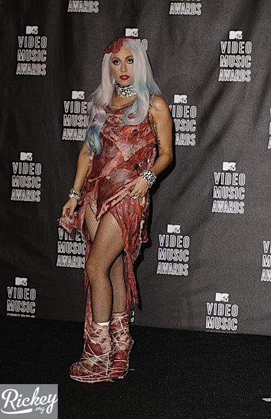 Lady Gaga Meat Outfit At Vma. Lady Gaga white layered dress