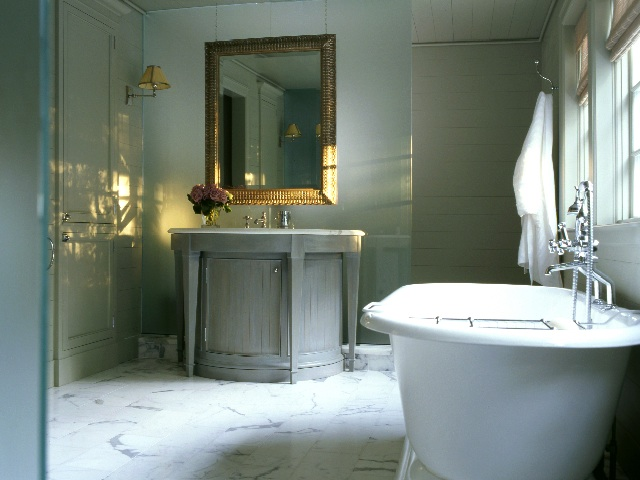 Period homes modern twist on classical designs part iii for Colonial bathroom ideas