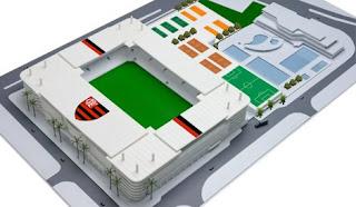 Projeto recente para estádio na Gávea, defendido por Márcio Braga