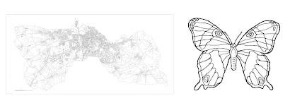 Surface de la ville de Flers à la forme d'un papillon