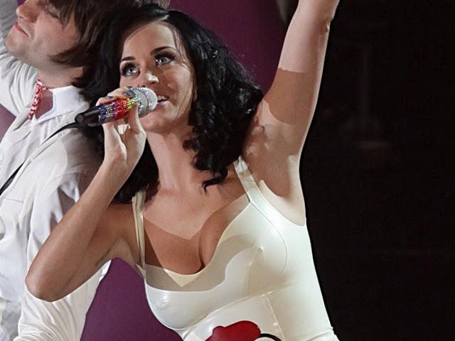 Katy Perry big tits tight dress nipple visible pokies cleavage Radio 1 Awards