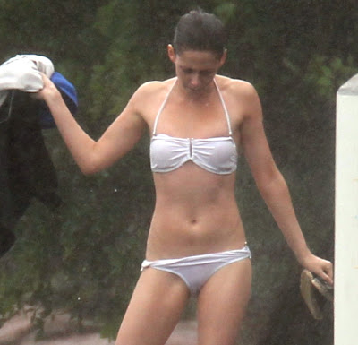 Kristen Stewart in see through bikini tits and pussy visible Brazil