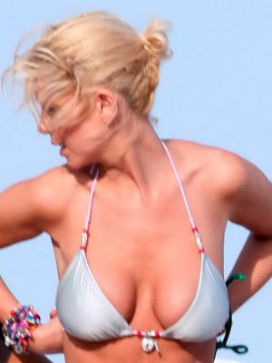 Tara Reid big tits at the Beach in Grey Bikini