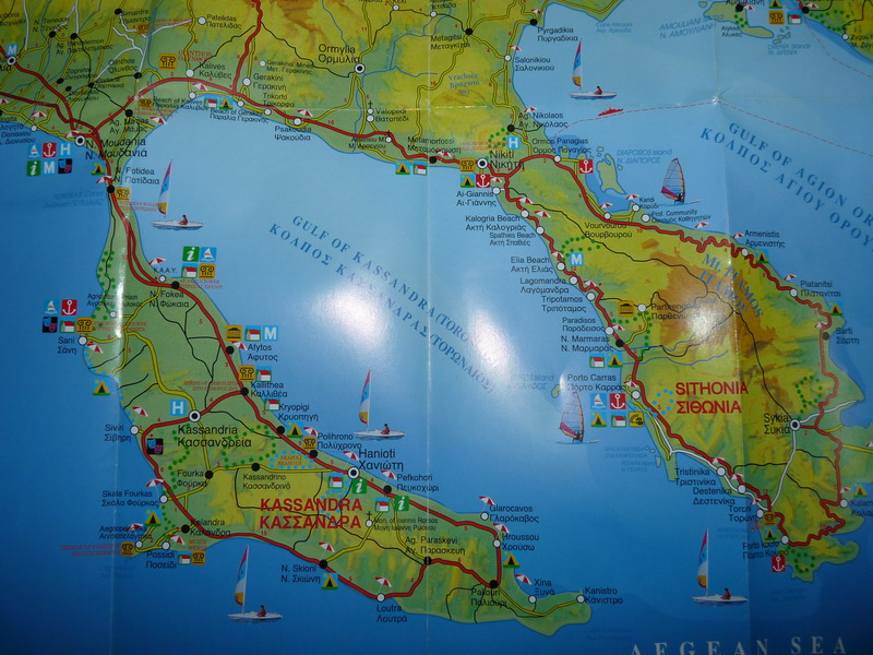 карта на Халкидики