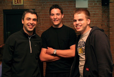 Larry Page Google Founder Cottage Inn Ann Arbor MI photographed with two co-geniuses