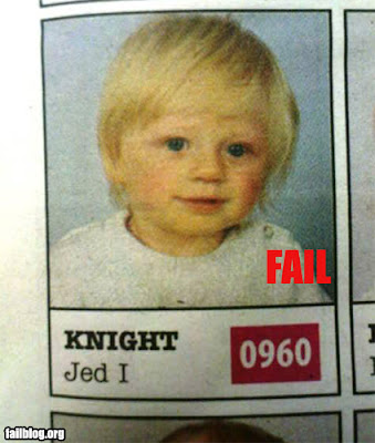 star wars baby named jedi knight jed i failblog