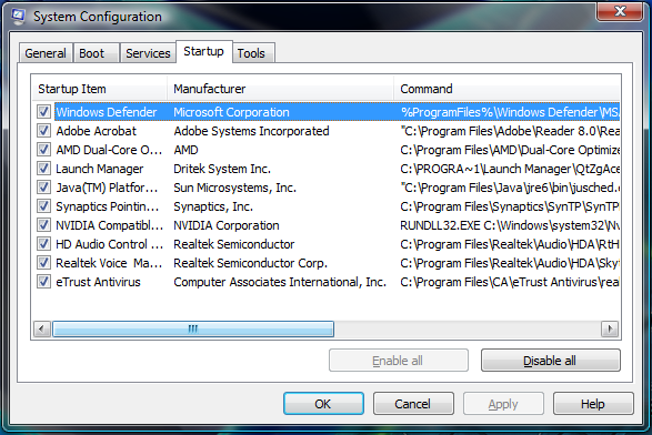 how to include a program in startup windows 7