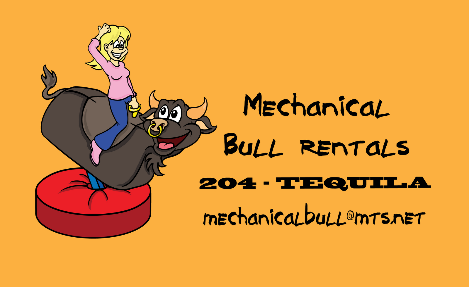 Mechanical bull riding cartoon
