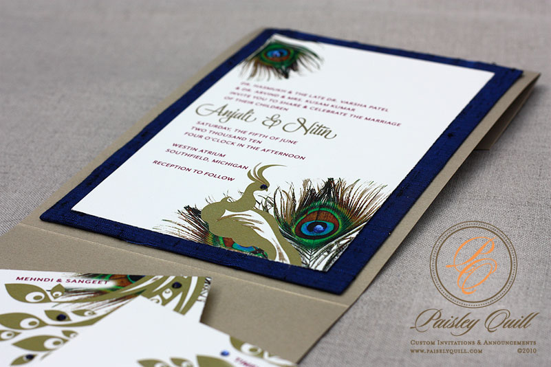 Peacock Themed Hindu Wedding Invitations