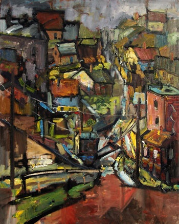 Contemporary Oil Painting Modern Cityscape by Gabriel Boray