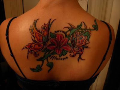 Butterfly and Flower Full Back and Sleeve Tattoo