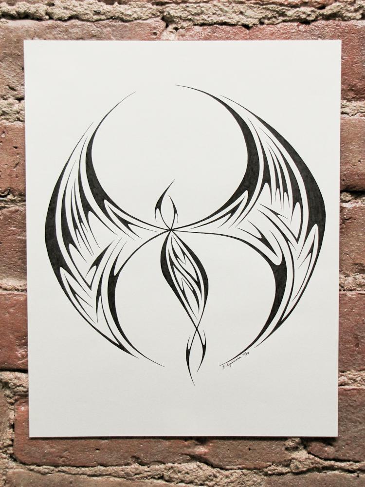 Phoenix Tribal 17 Pen and ink phoenix tribal by Elaine Espinosa