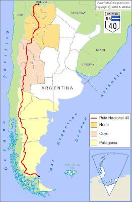 mapa del recorrido de la Ruta 40