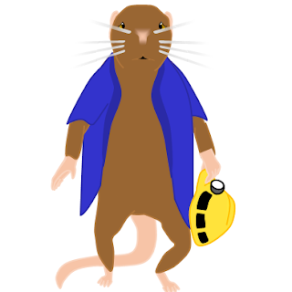 My mouse avatar appears so downtrodden, he can barely keep hold of the mining helmet in his left hand