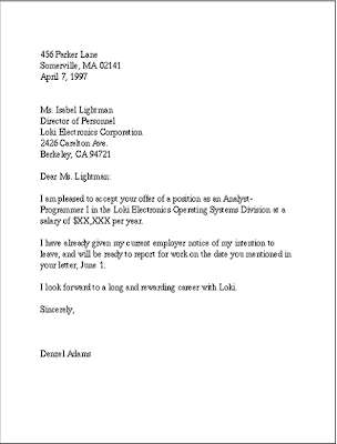 A Business In English Here Is An Example Of Acceptance Letter