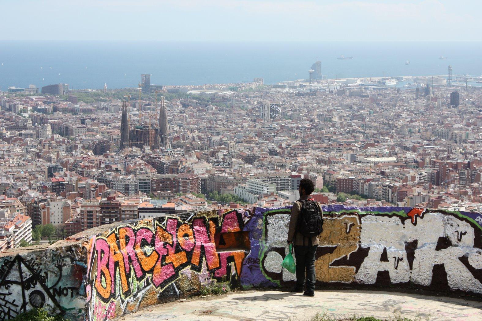 > Vue de Barcelone depuis le parc de Guinardo
