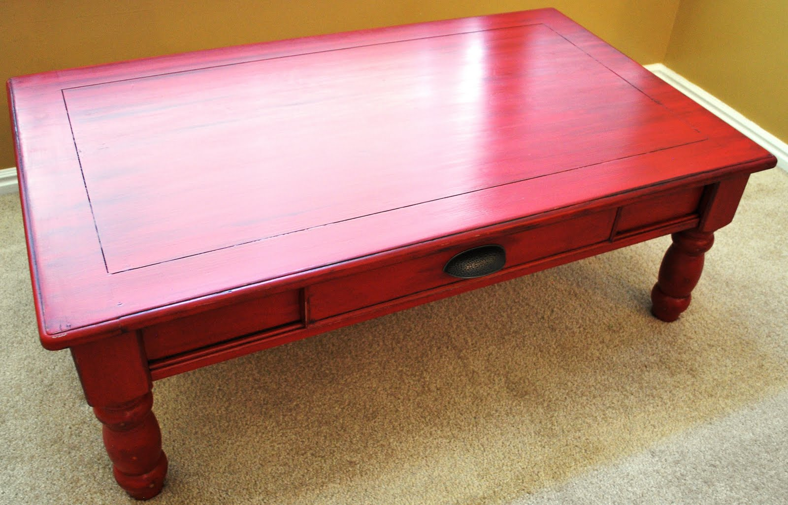 b 39 s refurnishings red coffee table privately sold