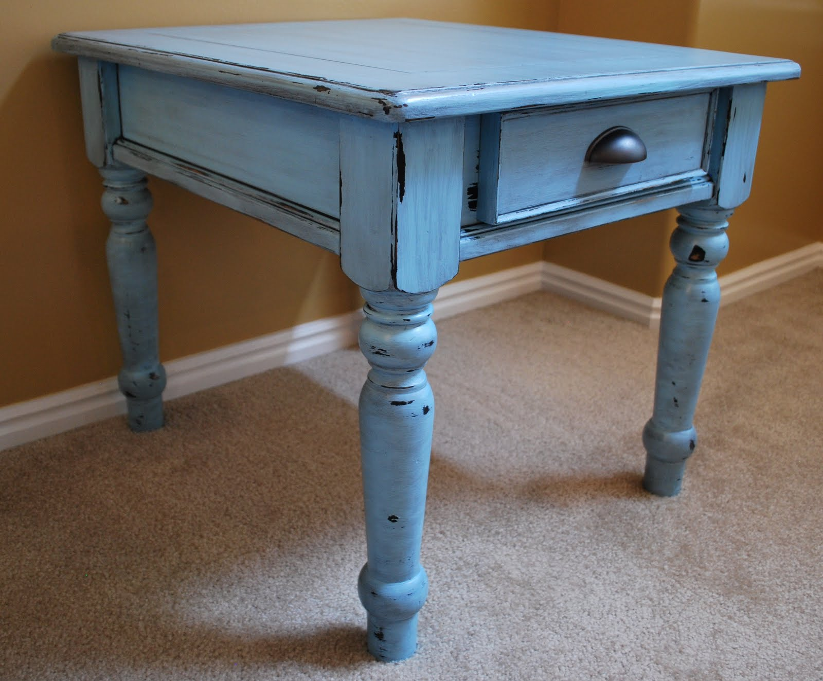 Robin Egg Blue Distressed Side Tables B s Refurnishings