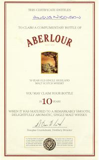 Aberlour certificate