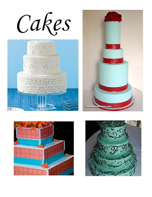 teal and red with an orange overlay on the cake table from Favor Ideas