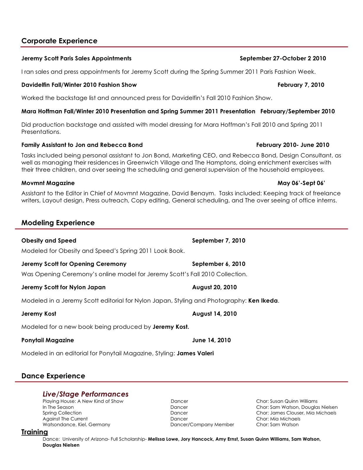creative director choreographer stylist resume