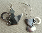 Coffee or Tea - Handmade  Sterling Silver and Copper  Earrings and story