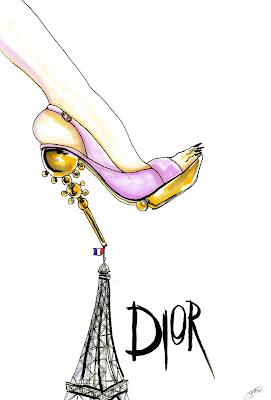 Achraf Amiri, Achraf Amiri ilustração, Achraf Amiri ilustrador, ilustração moda, desenho moda, ilustração sapato Dior,