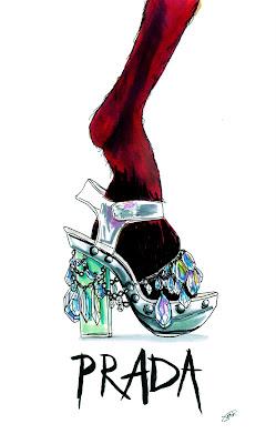 Achraf Amiri, Achraf Amiri ilustração, Achraf Amiri ilustrador, ilustração moda, desenho moda, ilustração sapato Prada