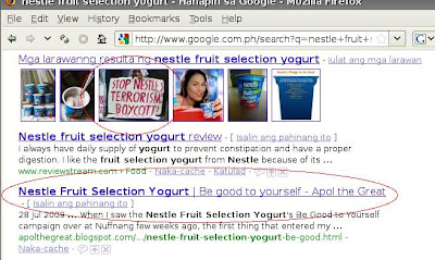 Traffic from 'Nestle Fruit Selection Yogurt' Search
