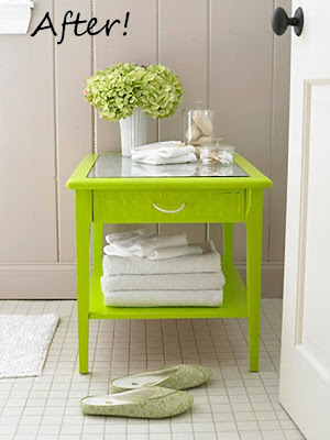 Elegant Lime end table makeover from LHJ