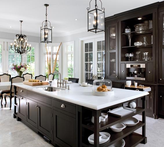 Kitchen With White And Dark Cabinets: Striking Dark Brown And White Kitchen