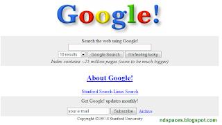 Сайт Гугл, страница поиска из архива за 1998 год.