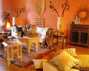 The African style in interior. Building.
