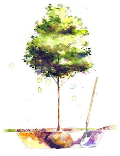 Stan Fellows, Magazine Illustration, Martha Stewart Living: Tree Planting