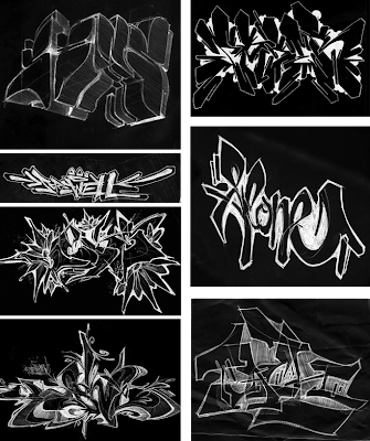 How to create sketches graffiti art