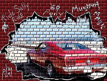 graffiti car,mustang graffiti