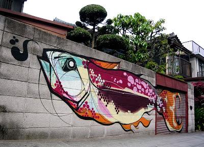 graffiti fish, graffiti wall
