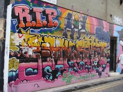 rip graffiti, wall street graffiti, mural graffiti