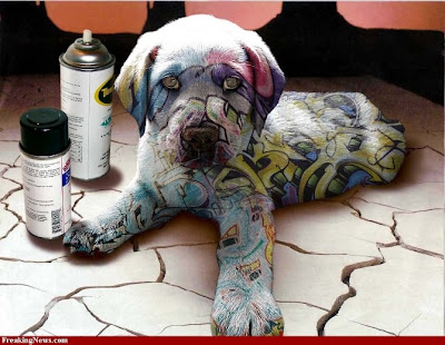 graffiti painting, dog graffiti
