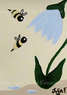 blue flower and bees aceo