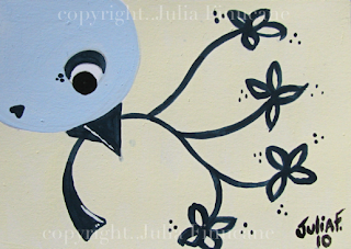 blue flower bird aceo
