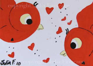 red sparrow birds aceo