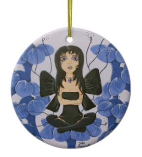out of the pansies big eye fairy holiday christmas tree ornament by artist julia finucane
