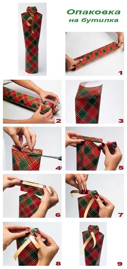Опаковане на бутилка - подарък за мъж