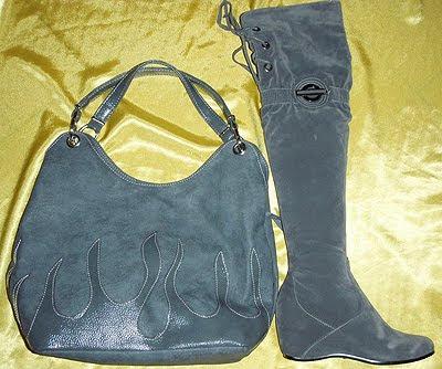 сива чанта и ботуши