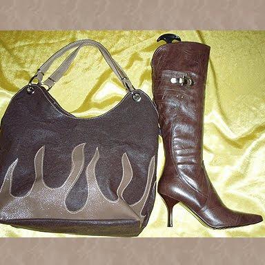 комплект чанта и ботуши кафяво