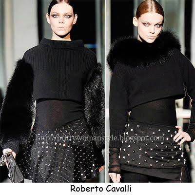 Плетени пуловери с козина Roberto Cavalli