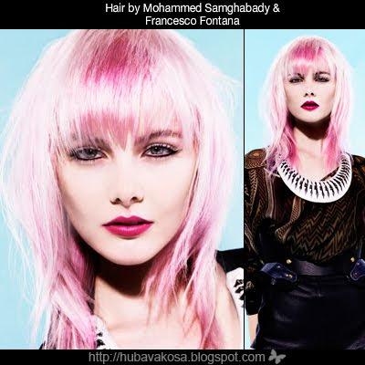 розова коса с кичури