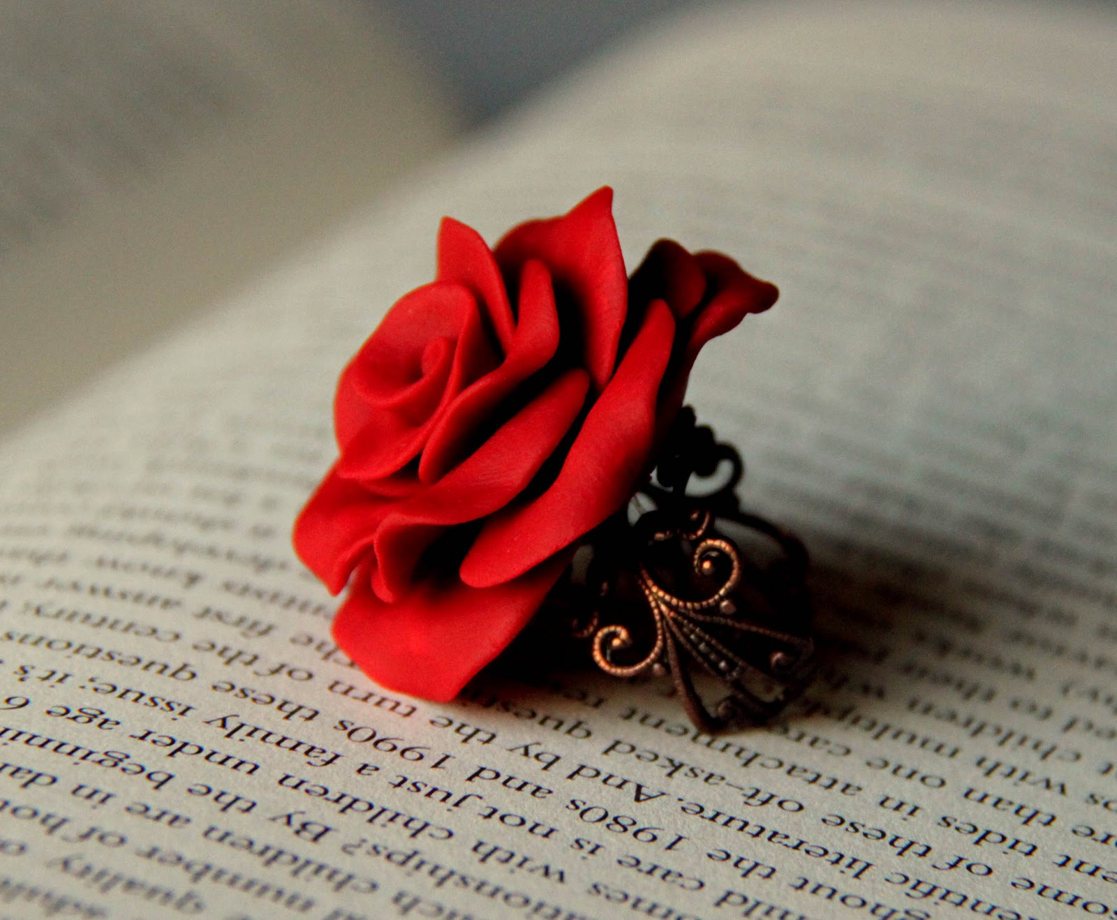 Handmade clay rose ring