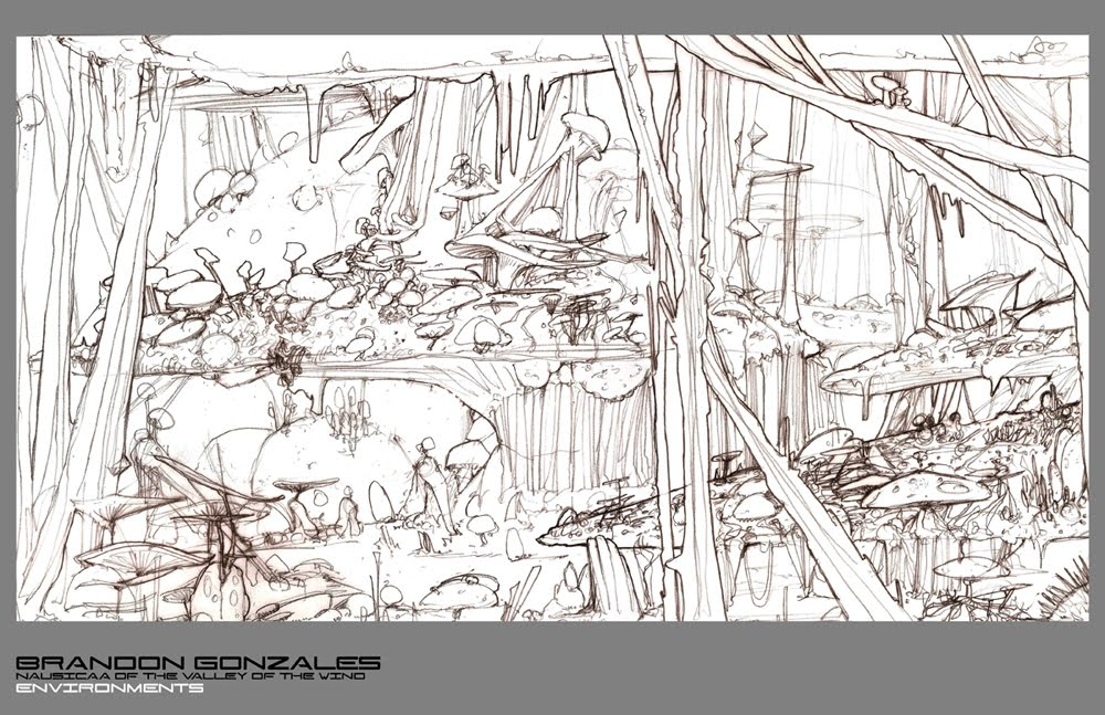 02 Environment Line Drawing - Nausicaa of the Valley of the Wind
